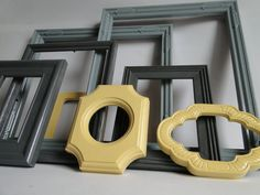 Frame set collection gallery wall mirrors yellow by TRWpainted, $98.00