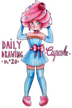 """Daily Drawing : CUPCAKE Since I didn't have much time to draw today I went for something """"easy"""". Not particularly proud of it, but it exists :D Cool Cartoon Drawings, Cute Food Drawings, Cute Kawaii Drawings, Kawaii Doodles, Cute Animal Drawings, Kawaii Art, Easy Drawings, Character Art, Character Design"""