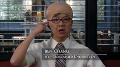 """""""Jeff thinks he has it bad? As jeff's understudy, I have to wear a Jeff wig on top of my Chang hair and then my bald cap on top of that!"""" #Chang #Community"""