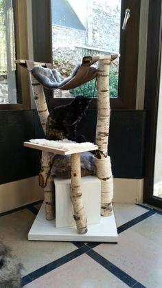 Arbre a chat fait maison en bouleau et MDF