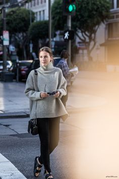 SWEATER WEATHER - afterDRK, wearing Céline sweater, Genetic denim, Birkenstock sandals and Ray-Ban Wayfarer sunglasses.