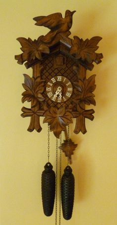 Vintage 8 Day - On / Off Switch- Cuckoo Clock -carved- Black Forest Germany