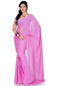 Pink Brasso Faux Georgette Saree with Blouse Online Shopping: SXS804