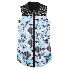 Peter Pilotto® for Target® Shirt Dress -Light Blue Floral/Check Print