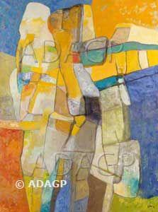 Estève Maurice, peintre français (1904-2001) Un des peintres majeurs de la nouvelle école de Paris. Excellent coloriste, son style se caractérise par un entrelacement de formes dont les qualités naturelles, voire organiques témoignent d'une grande poésie.