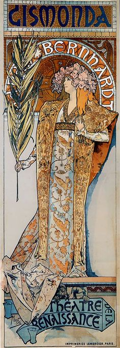 Alfonso Mucha. Gismondo poster. 1895 of Sarah Bernhardt. An instant success that launched his career as well as demand for inexpensive mass-produced poster art. Originally called Mucha Art it expanded into Art Nouveau.