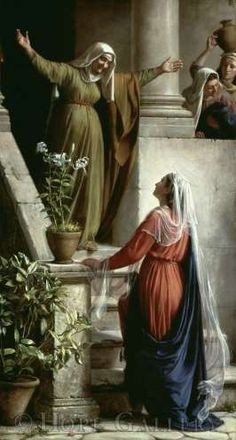 """At that time Mary hurried where she entered Zechariah's home & greeted Elizabeth. When Elizabeth heard Mary's greeting, the baby leaped in her womb, & Elizabeth was filled with the Holy Spirit. In a loud voice she exclaimed: Blessed are you among women, and blessed is the child you will bear! As soon as the sound of your greeting reached my ears, the baby in my womb leaped for joy. Blessed is she who has believed that the Lord would fulfill his promises to her!""""Luke 1: 39-45"""