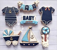 Nautical theme baby shower cookies ⛵️⚓️#edibleart  #nautical #babyshower #boy #customsweets #cookieart #partyideas #ediblefavors #instasweets #sugarart #tonilynsbakery #cookies #candytabledecor #candybar #njbaker #yummy #sweets #cookiefun #cookiesofinstagram #instacookies #cookier #customcookies for @lizdesignandmore
