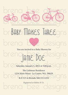 Baby Girl Baby Shower Bike Invitation Custom by brenabeedesigns, $10.00