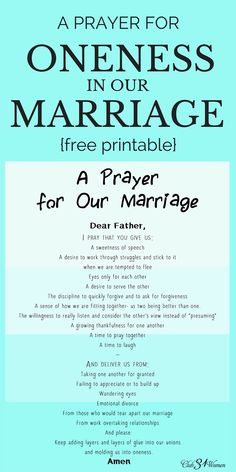A Prayer for Oneness in Our Marriage Printable