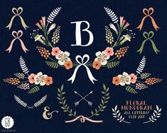 Floral wreaths, monogram, laurels, ribbons, clip art, vector, muscari, initial, cream, folk flowers, birthday card, party stationery
