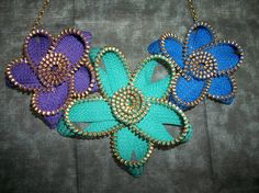 Zipper Jewelry Flower Necklace by SiennaSews on Etsy, $11.98