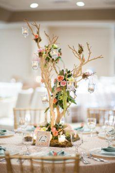 Eucalyptus Centerpieces | branch wedding centerpiece with hanging amaranthus and eucalyptus ...