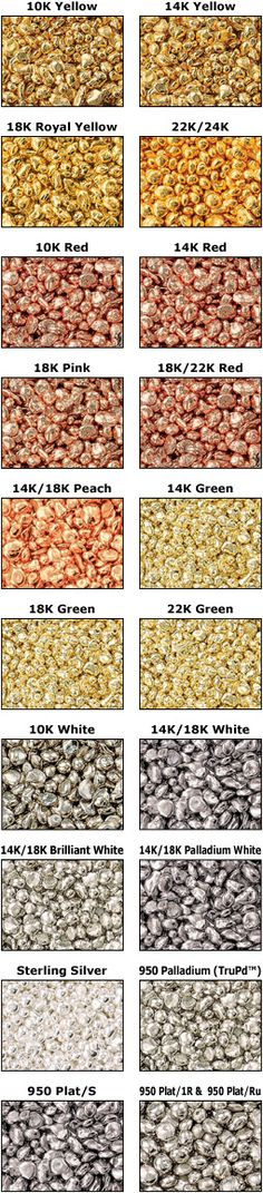 Casting Grain Specifications | 14K/18K Peach 18K Pink 18K/22K Red 14K Red 10K Red 14K Red D