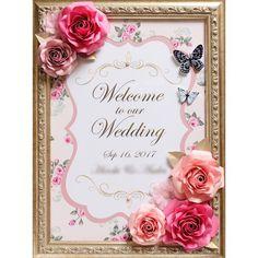 ウェルカムボード Paper Flowers Wedding, Welcome To Our Wedding, Wedding Frames, Paper Crafts, Display, Photo And Video, Instagram, Floral Arrangements, Manualidades