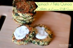 Spinach and Feta Quinoa Cakes with Lemon Dill Sauce are the perfect healthy easy meal!