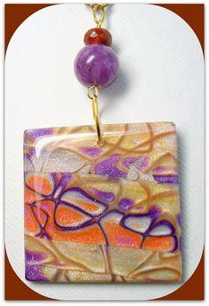 Gold & Purple Mokume Gane Pendant Necklace polymer clay Jewelry by BeadazzleMe, $16.00