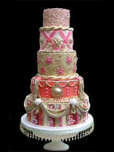 Pink, coral, gold and orange rococo wedding cake. I love this cake more than anything :)