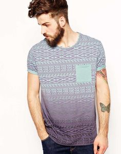 """ombre-style: """" ASOS T-Shirt With Geo-Tribal Stripe And Dip Dye """""""