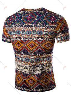Tribal Print V Neck T-Shirt - ORANGE M Mobile
