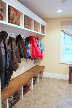 love, love, love this mudroom.my dream home will have one of these, mudroom Mudroom Laundry Room, Bench Mudroom, Bench Designs, Old Bricks, Interior Exterior, Interior Design, Modern Interior, Built Ins, My Dream Home