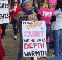 Nice Old Lady Trump Protest, Protest Signs, Protest Posters, Anti Trump Signs, Donald Trump, Women Rights, Tumblr Art, Funny Signs, Alter