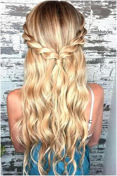 Braid half up half down hairstyle ideas,prom hairstyles,half up half down hairstyles,hairstyle for long hair (prom updo for long hair) Hair Wedding hairstyles half up half down wavy loose waves 27 Ideas Half Updo Hairstyles, Easy Hairstyles For Long Hair, Hairstyle Ideas, Trendy Hairstyles, Hair Ideas, Semi Formal Hairstyles, Simple Homecoming Hairstyles, Hairstyle Braid, Long Haircuts
