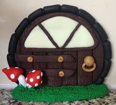 Polymer Clay Fairy Door - Red Round Toadstool (made to order) on Etsy, $20.90