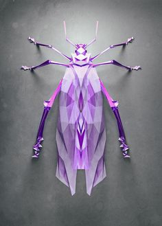 Randomly Generated Polygonal Insects by Istvan for NeonMob