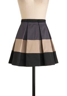 Consider It a Cakewalk Skirt - Short, Tan, Black, Grey, Color Block, Pleats, Casual, A-line, Mini modcloth