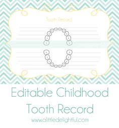 {printable} Tooth Fairy Receipts and Childhood Tooth Record - a little delightful