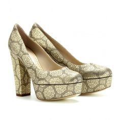 Stella McCartney Brocade Platform Pumps ($698) ❤ liked on Polyvore