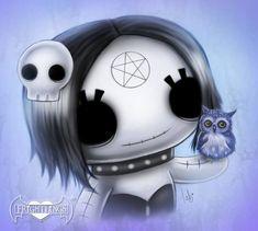 Ebony Gothling with her little friend Woodsy The Owl. Gothic Fantasy Art, Gothic Fairy, Fantasy Artwork, Emo Art, Goth Art, Creepy Art, Creepy Dolls, Scary, Halloween Drawings