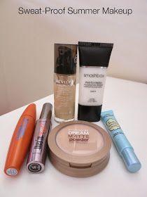 sweat-proof summer makeup, oily skin makeup, combination skin makeup, smashbox primer, revlon colorstay, benefit mascara, covergirl mascara, too faced primer, maybelline powder