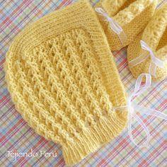 Ternura para bebés: gorro clásico o vintage tejido en dos agujas (parte de un conjunto de 5 piezas!)