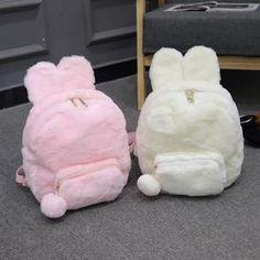 Pink/White Bunny Plush Backpack - Code Andester for off 🥰 Source by andester_kawalii Mini Mochila, Cute Mini Backpacks, Stylish Backpacks, Girly Backpacks, Canvas Backpacks, Leather Backpacks, School Backpacks, Leather Bags, Kawaii Bags
