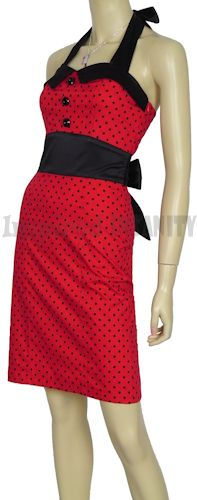 50s Rockabilly Polka Dot Pencil Dress - $49.95