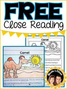 FREE close reading passages and interactive notebook activities for beginning/intermediate readers.