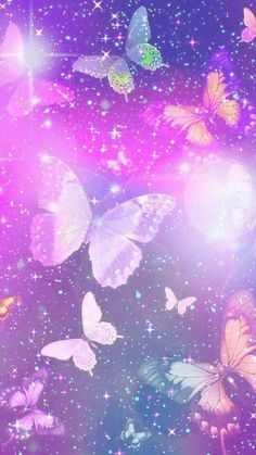 Purple Sparkly Butterflies, made by me Cute Galaxy Wallpaper, Bling Wallpaper, Butterfly Wallpaper Iphone, Cute Wallpaper For Phone, Rainbow Wallpaper, Cute Patterns Wallpaper, Cute Wallpaper Backgrounds, Love Wallpaper, Cellphone Wallpaper