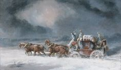 Victorian British Painting: Charles Cooper Henderson.Mail Coach in a Snowstorm (ca. 1835-40)