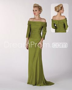 [$163.69] Charming A-Line Off-the-Shoulder 3/4-Sleeves Floor-Length Mother of the Bride Dresses