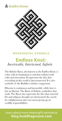 Meaningful Symbols – A Guide to Sacred Imagery: Endless Knot - Inextricable, Intertwined, Infinite Tattoo Karma, Simbols Tattoo, Knot Tattoo, Ganesha Tattoo, Lotus Tattoo, Samoan Tattoo, Polynesian Tattoos, Karma Tattoo Ideas, Tattoo Quotes