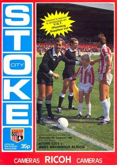Stoke vs West Bromwich Albion Match Programme, Autographed by legendary referee Clive Thomas, pictured on the cover. Stoke City, West Bromwich, Football Program, Vintage Football, Referee, Ilford Fc, Baseball Cards, Shorts, Cover