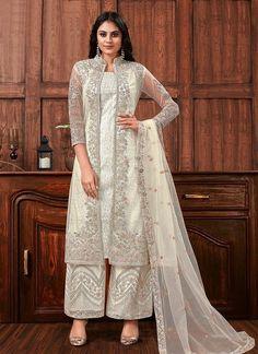 Suit With Jacket, Off White Jacket, Jacket Style, Pink Jacket, Pakistani Dress Design, Pakistani Dresses, Indian Dresses, Indian Outfits, Pakistani Designer Clothes