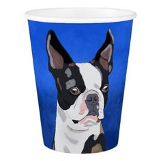 Boston Terrier Dog Oil Painting Art Portrait Paper Cup - animal gift ideas animals and pets diy customize