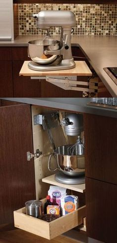 Even though heavy-duty mixers make baking easier, lugging the appliance out makes whipping up a batch of cookies sound like it's more work thank it's worth — unless you have this cabinet that brings the mixer to you. Click through for more on this and other dream cabinet organizers. #HomeAppliancesDesign