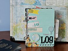 Travel album using Pink Paislee's Daily Junque Paper collection.