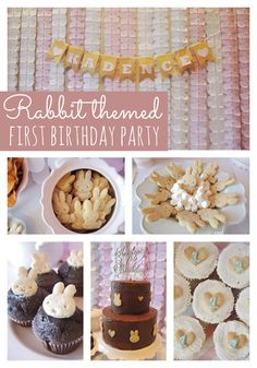 This Rabbit Themed First Birthday Party features a fun DIY backdrop and homemade goodies!