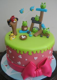 "angry bird themed cake for girls,, it's 8"" round cake, all figurines are edible."