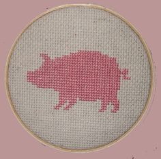 Pig Cross Stitch Art by TheHandicrafter on Etsy